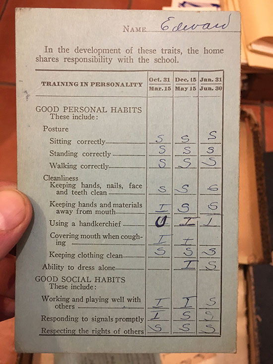 Avi's kindergarten report card