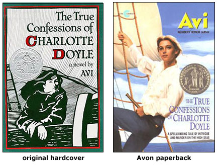 Two versions of the Charlotte Doyle book cover